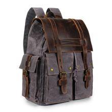Мужской кожаный рюкзак винтажные школьные рюкзаки camvas для