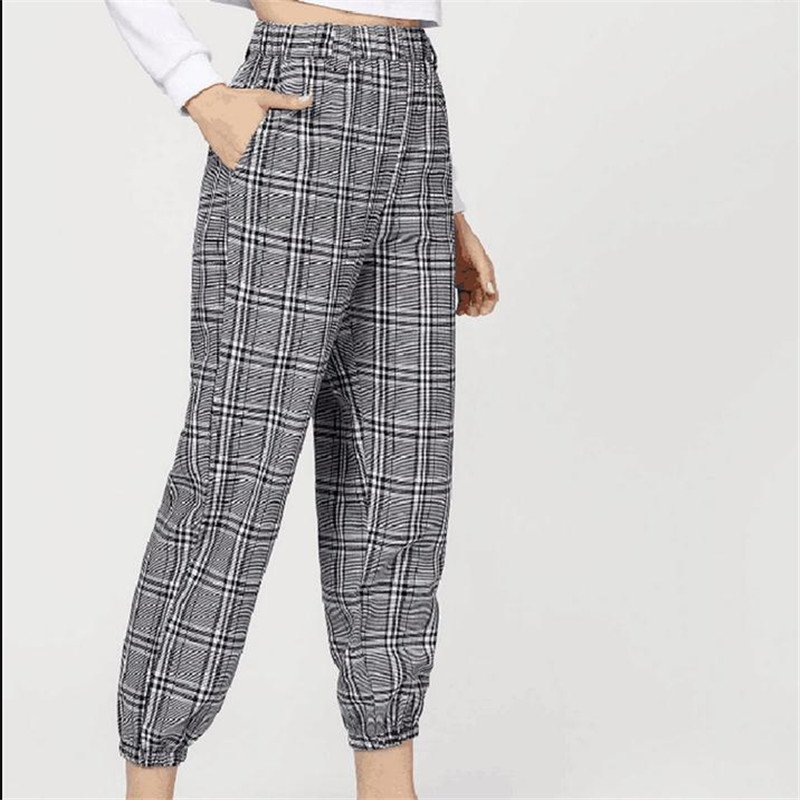 Women's Plaid Long Pants New Casual Elastic High Waisted Long Beamed Trousers Female Fashionable Autumn Spring Long Pants Fall
