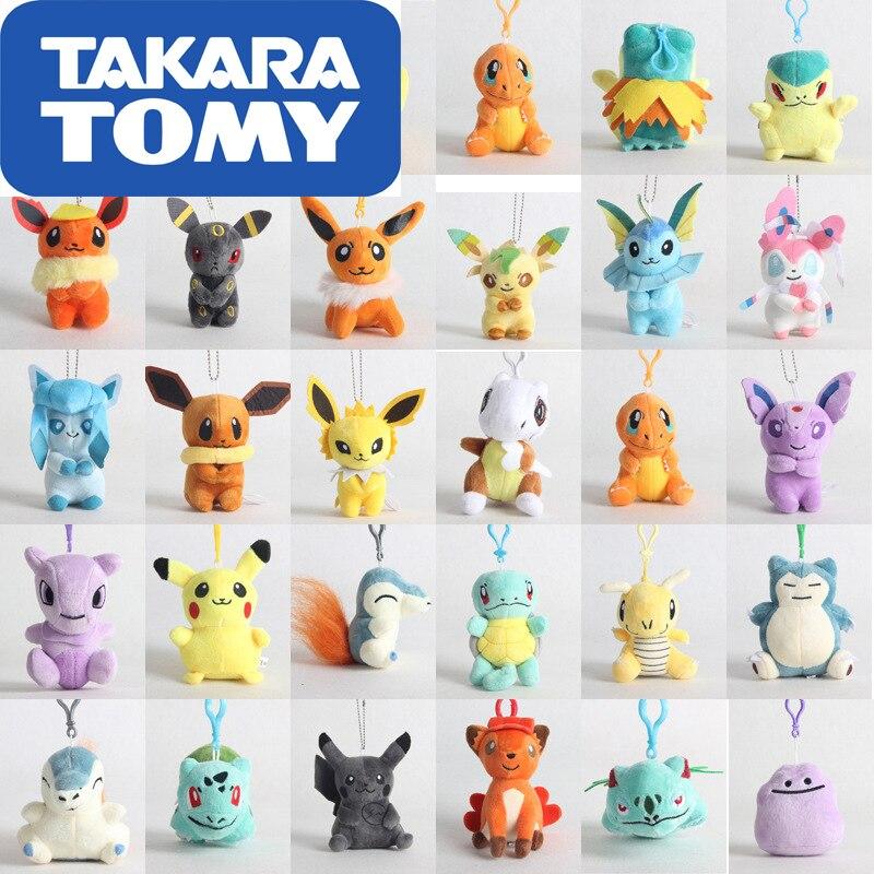 10cm Takara Tomy Pokemon Pikachu Eevee Plush Toys Jigglypuff Charmander Gengar Bulbasaur Animal Plush Stuffed Toys For Children