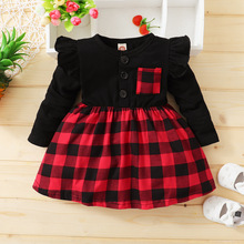 Flying Sleeve Baby Girl Dress Infant Princess Dresses Party Patchwork Cute Plaid Dress Toddler Girl Clothes Baby Christmas Dress