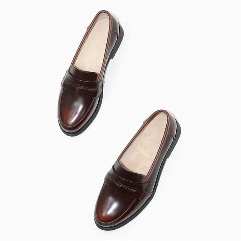 Spring Autumn New Pedal Genuine Leather Loafers Shoes Women British Polished Flat Tassel Oxford Shoes For Woman Large Size 32-43 (41)