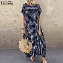 2019 ZANZEA Summer Vintage Polka Dot Sundress Women O Neck Short Sleeve Baggy Long Dress Kaftan Party Vestido Robe Femininas 5xl(China)