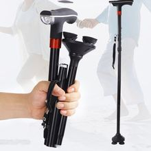 Складная трость для пожилых людей, Алюминиевая опора, костыли, телескопические, противоскользящие, четыре ноги, регулируемая палка, светодиодный светильник, SOS сигнализация