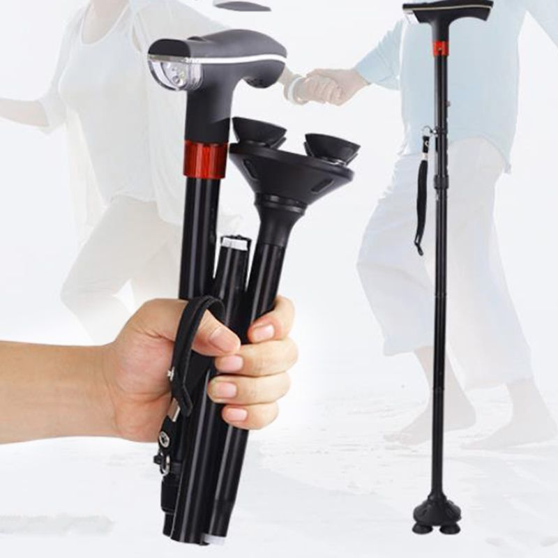 Elderly Folding Walking Cane Aluminum Support Crutches Telescopic Anti-Slip Four-Leg Adjustable Stick With LED Light SOS Alarm