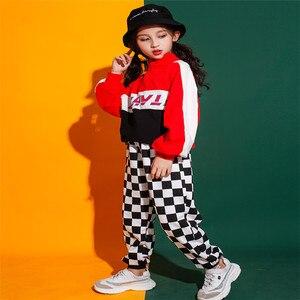 Image 5 - Jongens Meisjes Jazz Dans Kostuum Straat Prestaties Set Volledige Herfst Kinderen Kleding Hip Hop Kostuums Outfit Hoodie Broek 2 Stuks