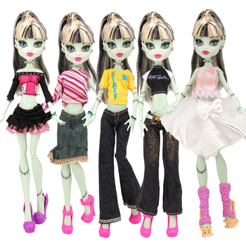 Fashion handmade high quality 10 Items/set doll accessories clothes dress pant coat for Monster High dolls best birthday gift 4pcs lot new style monster inc high doll monster christmas gift wholesale fashion dolls