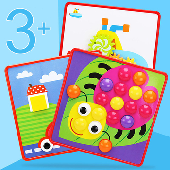 Creative Puzzle Toys For Children Cartoon Animal Shape Matching Mushrooms Nails Button Baby Preschool Educational Learning Gift 1