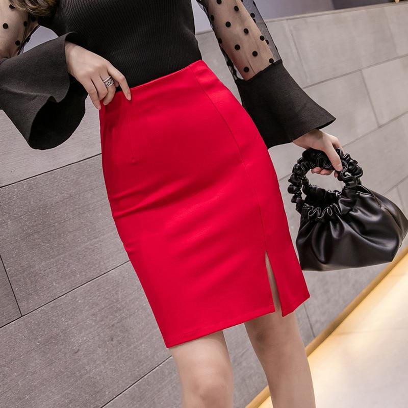 1070 New Style High-waisted Slimming Mid-length Skirt Business Dress Bag Skirt One-step Skirt Skirt Wedding