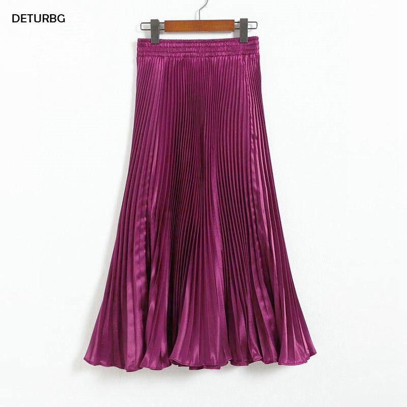 Women's Pleated Mermaid Skirt Female 2020 Spring Japan Style Casual High Waist Satin Midi Long Skirts Shiny Saias 17 Color SK501
