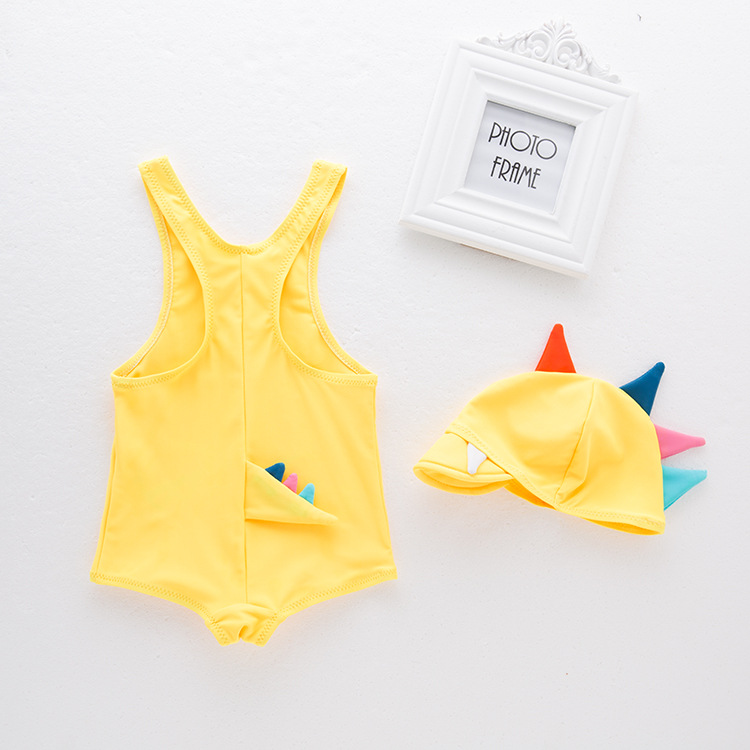 Boys' Cotton One-piece Swimsuit Dinosaur-Swimwear Children Hot Springs Tour Bathing Suit