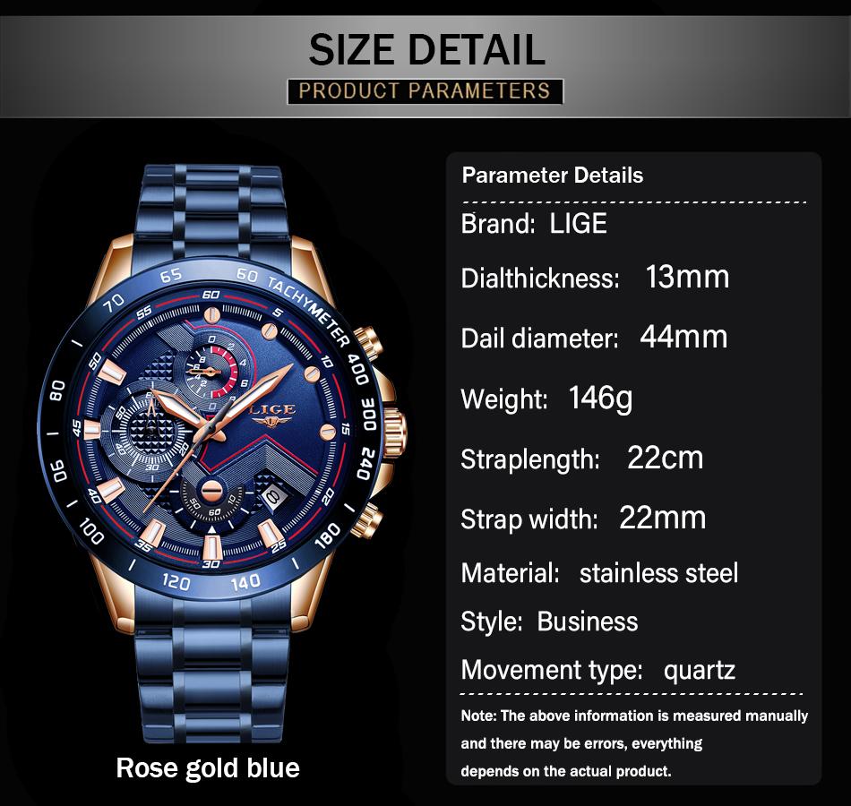 LIGE 2020 nuevos relojes de moda para hombre con Acero Inoxidable marca superior de lujo deportes cronógrafo reloj de cuarzo hombres Relogio Masculino 3