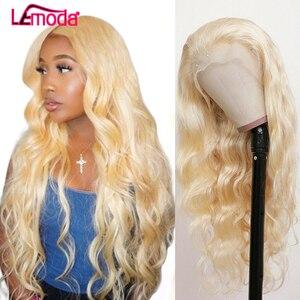 613 perruque avant dentelle péruvienne Blonde vague de corps perruque de cheveux humains couleur Lemoda Remy HD Transparent dentelle frontale perruque pour les femmes