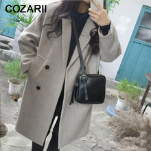 New Thin Wool Blend Coat Women Long Sleeve Turn-down Collar Outwear Jacket Casual Autumn Winter Elegant Overcoat