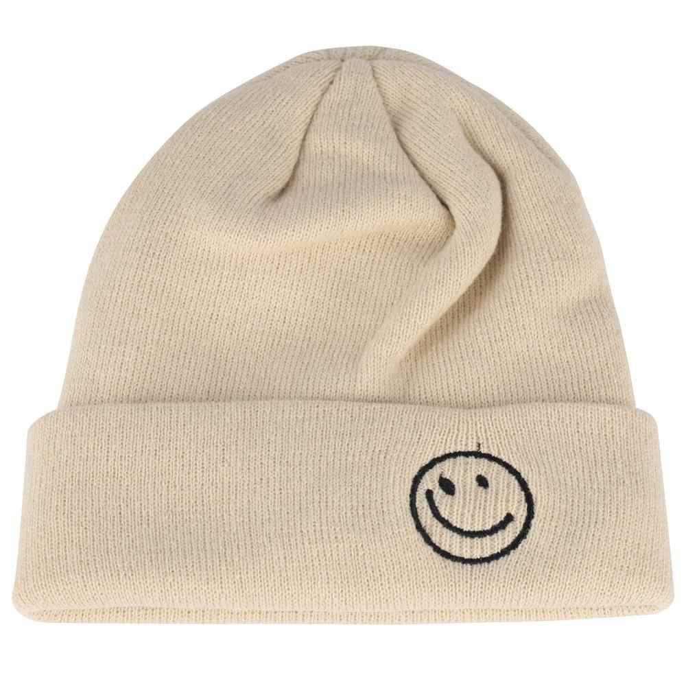 ชายหมวกหมวกฤดูหนาวสาวสั้นหมวก SMILE Face เย็บปักถักร้อย Beanie หมวกผู้หญิง Beanies MUT ฤดูใบไม้ร่วง Skullcap bonnet เย็น
