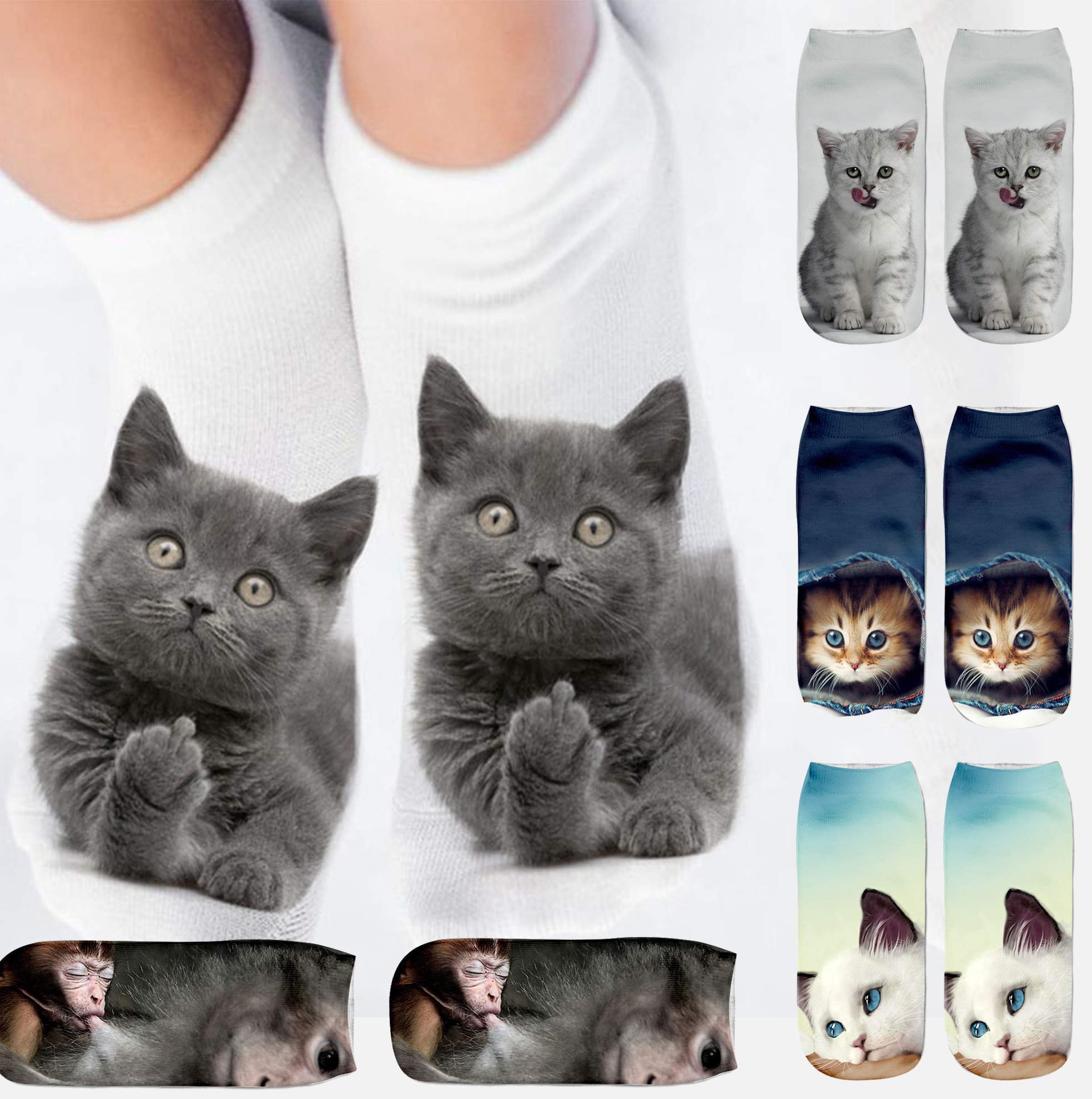Cartoon Cat Sock 3D Cat Printed Cotton Anklet Socks Low Cut Sports Sock Cute Designer Women Girl Casual Socks