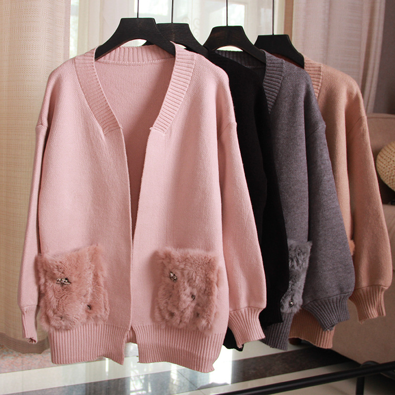 Fox Fur Pearls Pocket Cardigan Lantern Sleeve Knit Sweater Women Open Stitch Casual Sweters Invierno  Loose Mujer