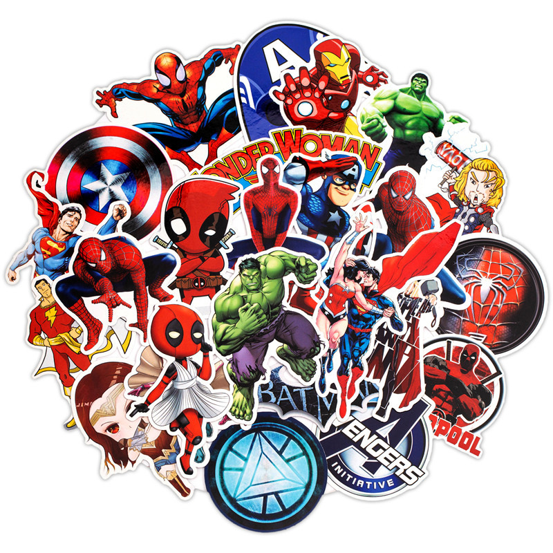 50 PCS Marvel Superhero Skateboard Trolley Case Stickers Cartoon Stickers Waterproof Graffiti Stickers