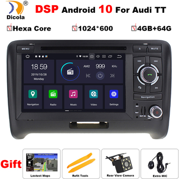 "7"" IPS DSP Hexa Core 4G+64G PX6 Android 10 Car DVD Video Stereo Radio Player GPS Navigation for AUDI TT MK2 (2006-2014)"