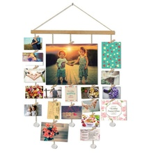 Деревянная палочка висячая Фото Дисплей макраме настенные картины Органайзер Домашний декор с деревянными зажимами и почтовыми картами