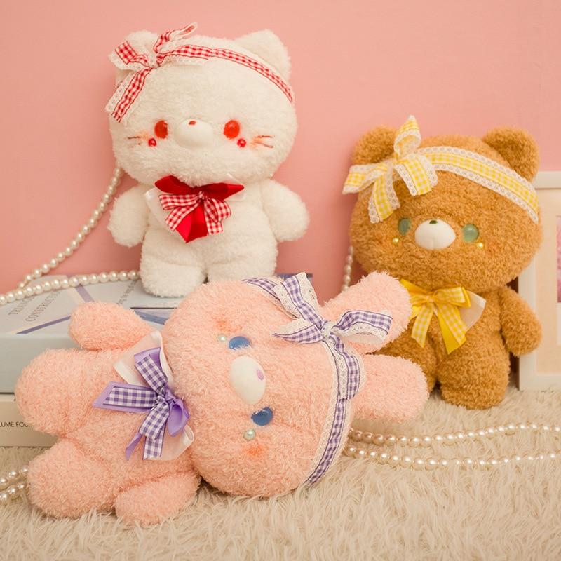 Cute Cartoon Plush Bear Messenger Bag Lolita Girls Shoulder Bag Bows Lace Cosplay Doll Chain Bags