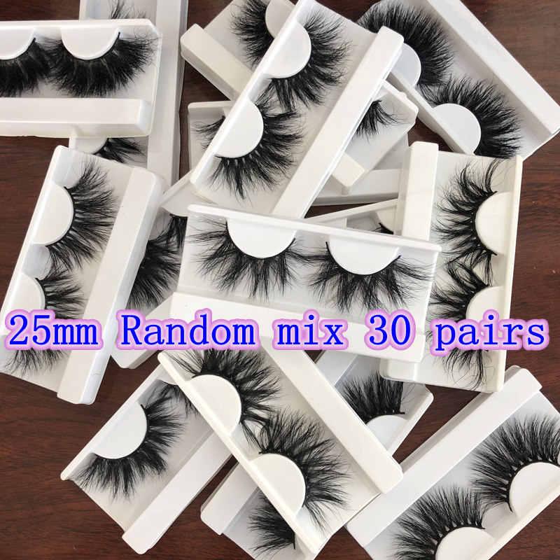 Оптовая продажа случайный микс 30 пар без коробки Mikiwi ресницы 3D норковые ресницы ручной работы драматические 25 мм норковые ресницы