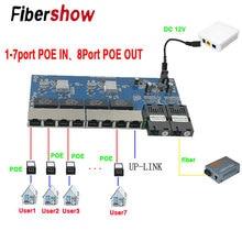 Interruptor POE inverso 8 RJ45 2 SC fibra Gigabit Ethernet interruptor medio convertidor fibra óptica UTP puerto 10/100 /1000M PCBA