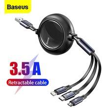 Baseus 3 in 1 cavo USB C cavo retrattile trasferimento dati per iPhone 11 12 8 Xiaomi Micro ricarica rapida cavo caricabatterie cavo