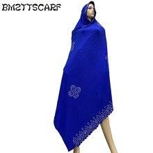 100% 부드러운 코 튼 스카프 아프리카 이슬람 여성을위한 KASHKHA 스카프 두바이기도 rhinestones bm826와 큰 Shawls
