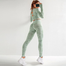 Women Yoga Sets Long Sleeve Shirt+Seamless Leggings Pants Camo Tracksuits Gym Wear Running Clothes Fitness Sportd Suit,ZF289