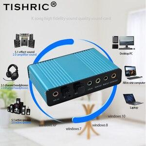 Image 1 - Tishric光オーディオアダプタ外部サウンドカード5.1 usbに3.5ミリメートルヘッドホンステレオマイクラインspdif pcのコンピュータラップトップ