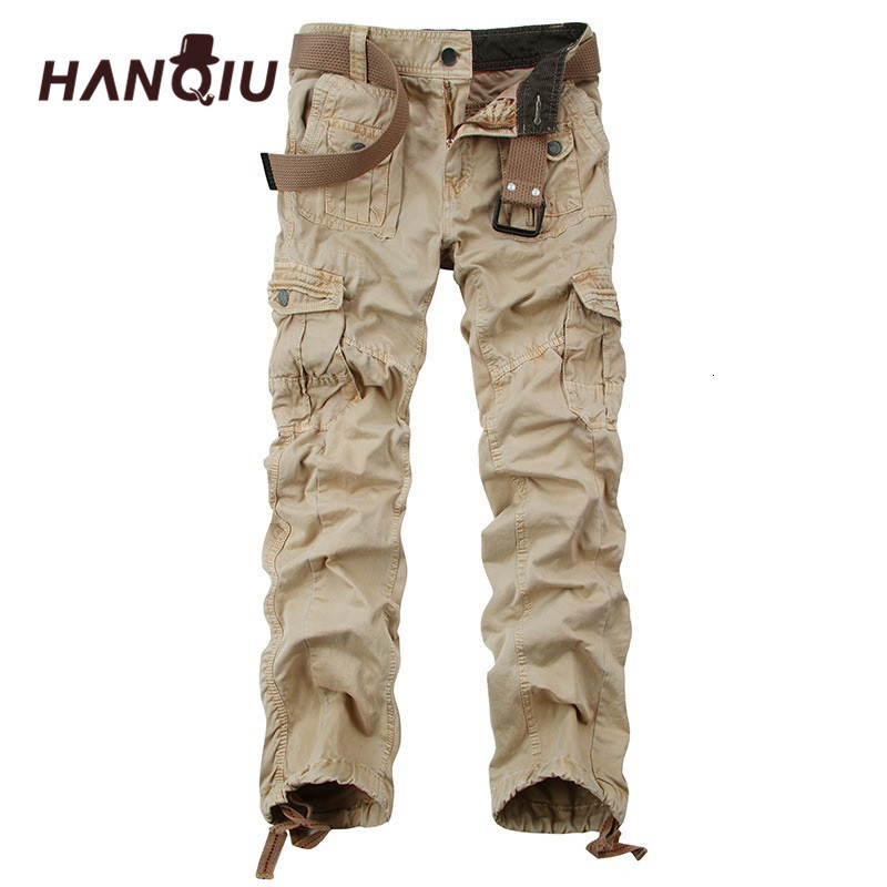 HANQIU Tactical Cargo Broek Men Large Bags Men Military Broek Cato High Quality Herf Loose Mala Broek Joggers