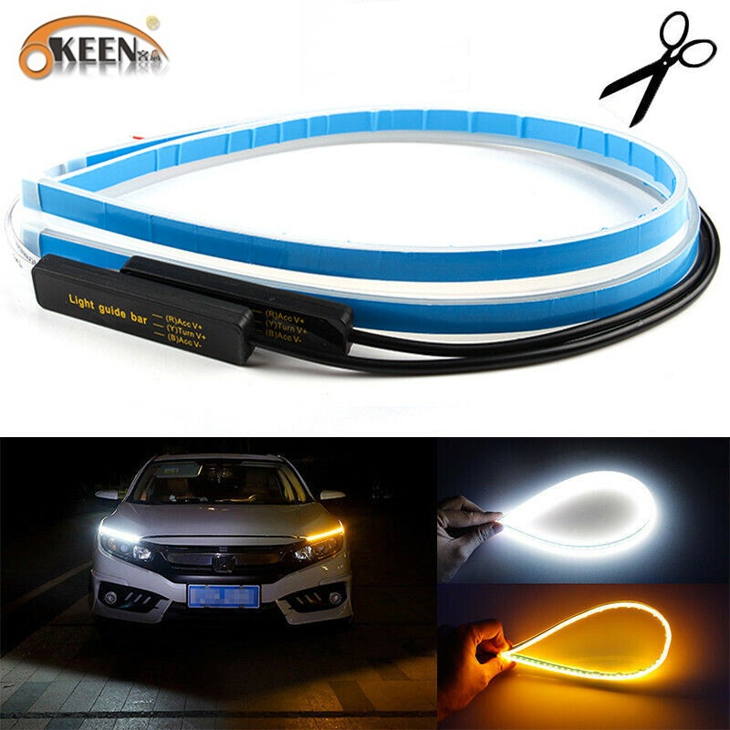 OKEEN 2pcs Waterproof Flexible Universal Car LED DRL Daytime Running Light Flow Runs Headlight LED Strip Brake Turn Signal Light