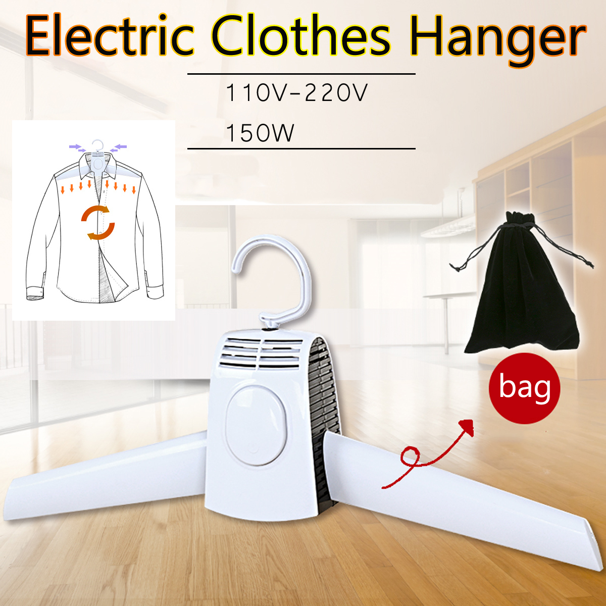 Portable Clothes Hangers Electric Laundry Dryer Smart Shoes Dryer Rack Coat Hanger For Winter Home Travel Rod Rack Hangers