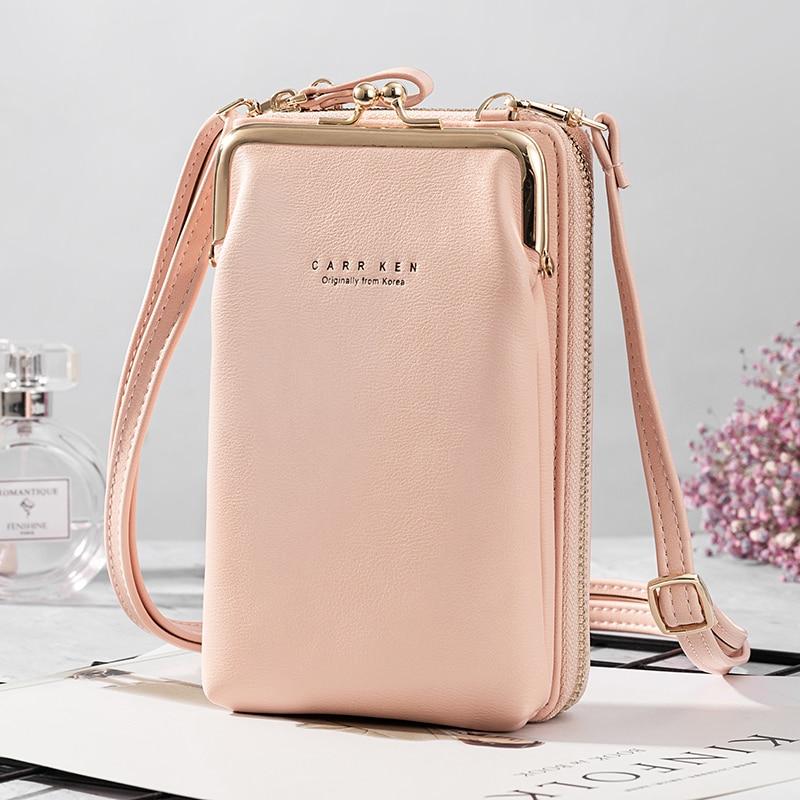 Women's  Wallet New Double-layer Mobile Phone Bag Korean Women's Fashion Messenger Shoulder Bag Ultra Soft Multi Card Sto