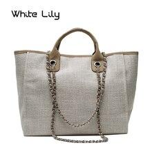 New Women Tote Bag Fashion Canvas Large Handbag Chains Shoulder Bags Ladies Big Messenger Bag Shopping Bag