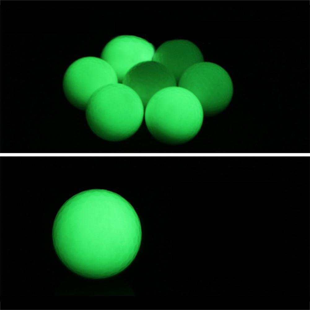 6PCS Luminous Golf Ball Night LED Light Up Golf Ball On For Golf Practice Training Fluorescent Two Piece Ball Standard Golf Ball
