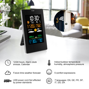 Image 2 - Weather Station Barometer Hygrometer Thermometer Digital Color Display Indoor Outdoor Wireless Forecast Wall Table Alarm Clock