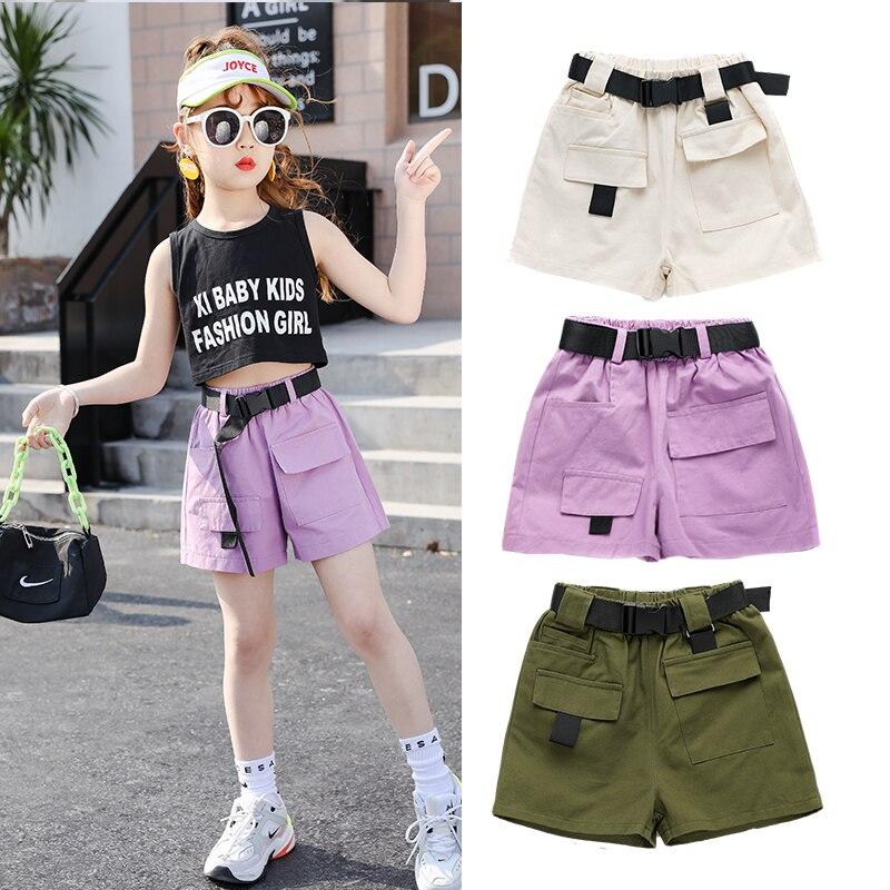 Kids Summer Children's Cargo Shorts For Girls Fashion Teens Girl Causal Shorts With Belt Black Purple Beige Color 4 6 8 10 13Yrs