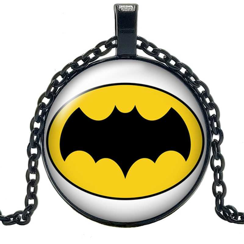 2019 New Movie Peripheral Yellow Bottom Black Bat Necklace Jewelry Pendant Crystal Convex Round Glass Necklace Children's Gift