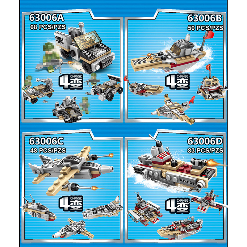 Toys For Children Compatible With LegoINGlys Battleship 502+PCS  8 IN 1 Warship Building Blocks Military Bricks With Mini Figure (9)