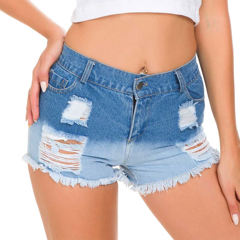2020 New Fashion High Waisted Sexy Women Denim Shorts Hollow Out Hole Bandage Punk Rock High Waist Shorts Grey Super Mini Summer