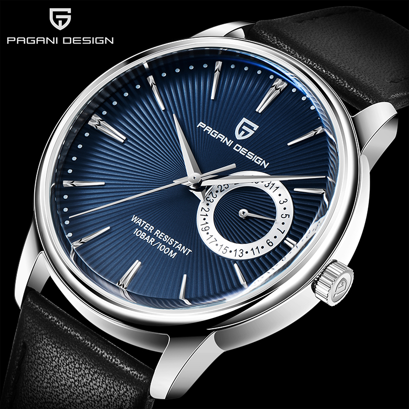 PAGANI DESIGN New Men's Watch Classic Luxury Fashion Brand Leather Waterproof Rose Gold Case Men Quartz Watch Relogio Masculino