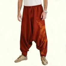 Осенние новые модные мужские повседневные Свободные мешковатые штаны мужские с заниженным шаговым швом Аладдин Али Баба Йога широкие брюки шаровары наряды размера плюс