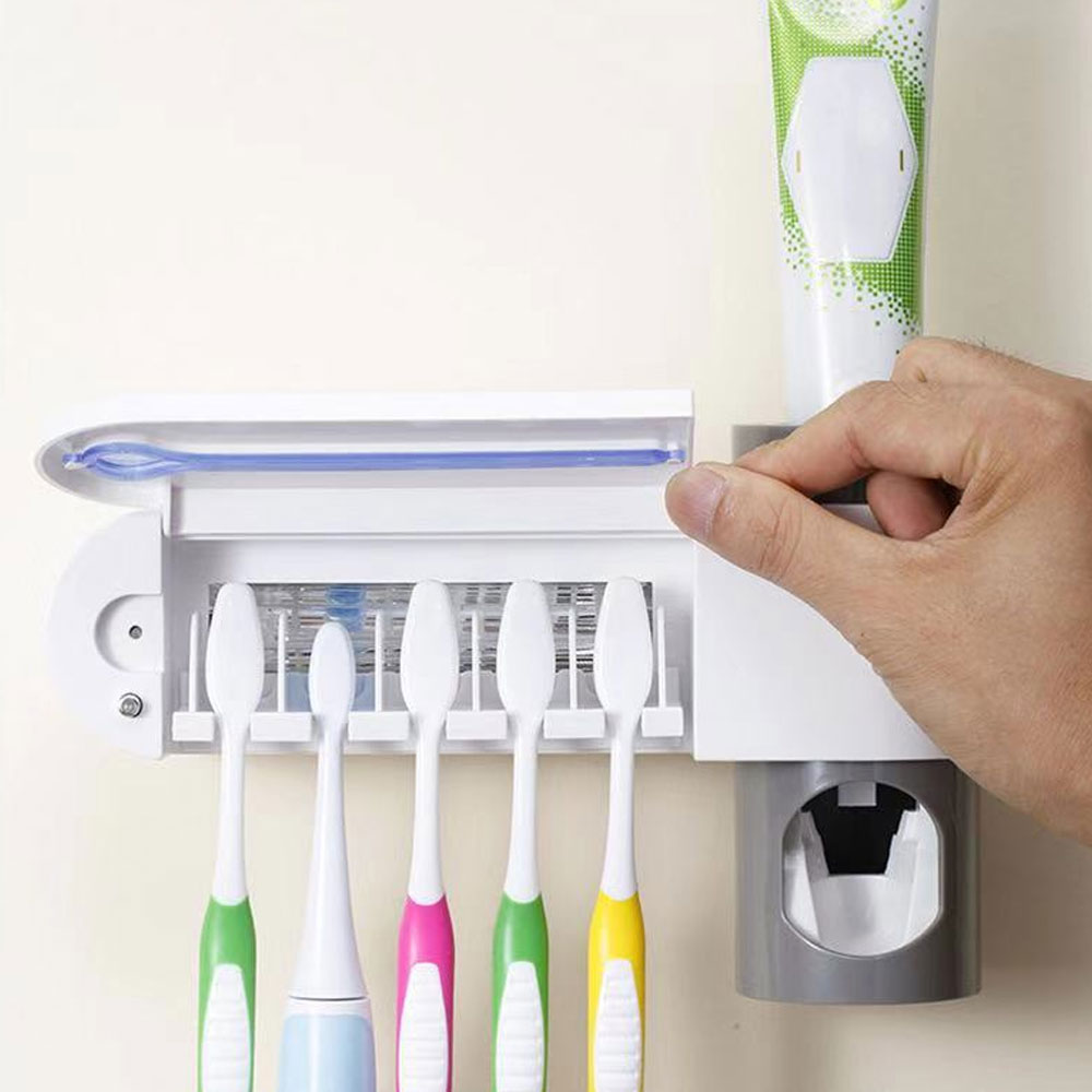 Anti-bacteria UV Light Ultraviolet Toothbrush Sterilizer Automatic Toothpaste Dispenser Tooth Brush Holder Oral Hygiene Cleaner