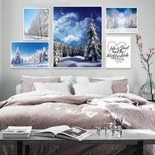 Постеры с Зимним Пейзажем Картина на холсте украшение в скандинавском