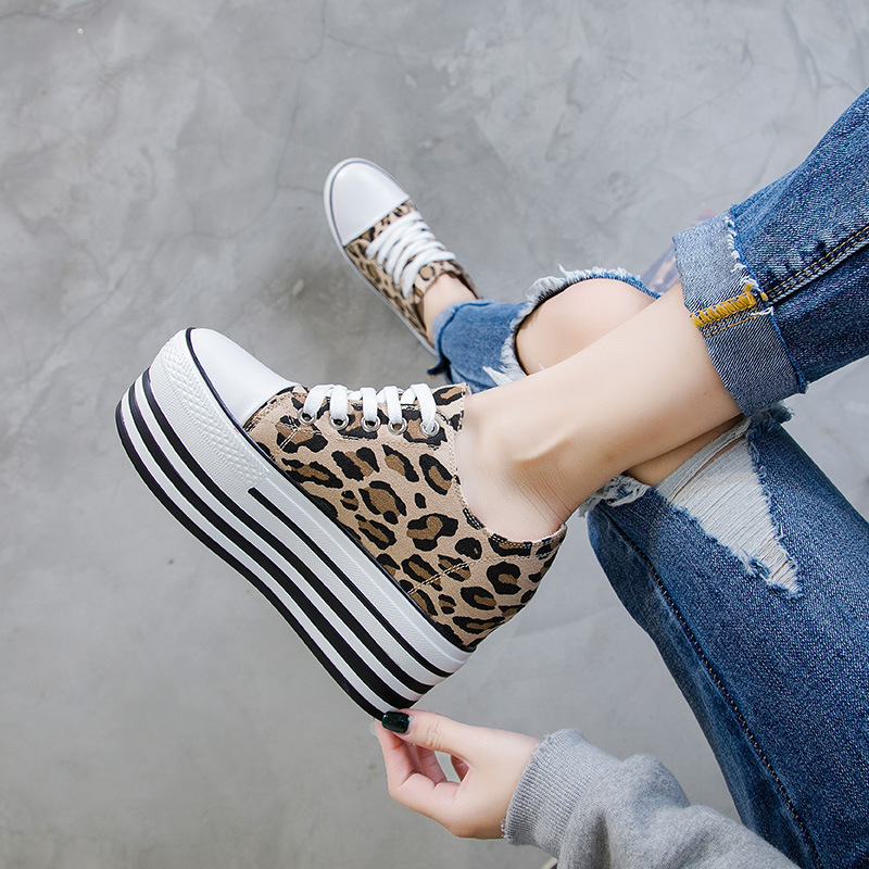 2019 New Style Sneakers Females Leopard Platform Wedges Walking Sports Shoes Height Increasing Women Running Shoes YA-97