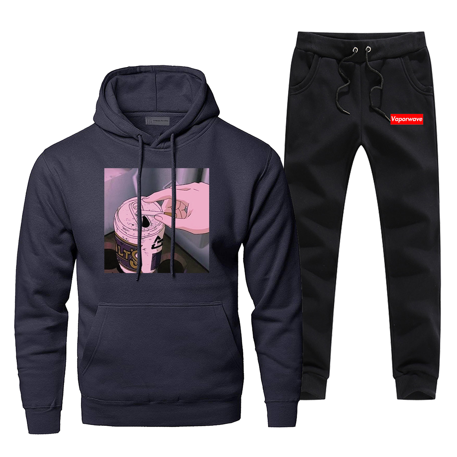 Retro Japanese Anime Vaporwave Mens Sweatshirts Harajuku Hoodies+pants Sets Men Funny  Fleece Streetwear Sportswear Sweatpants