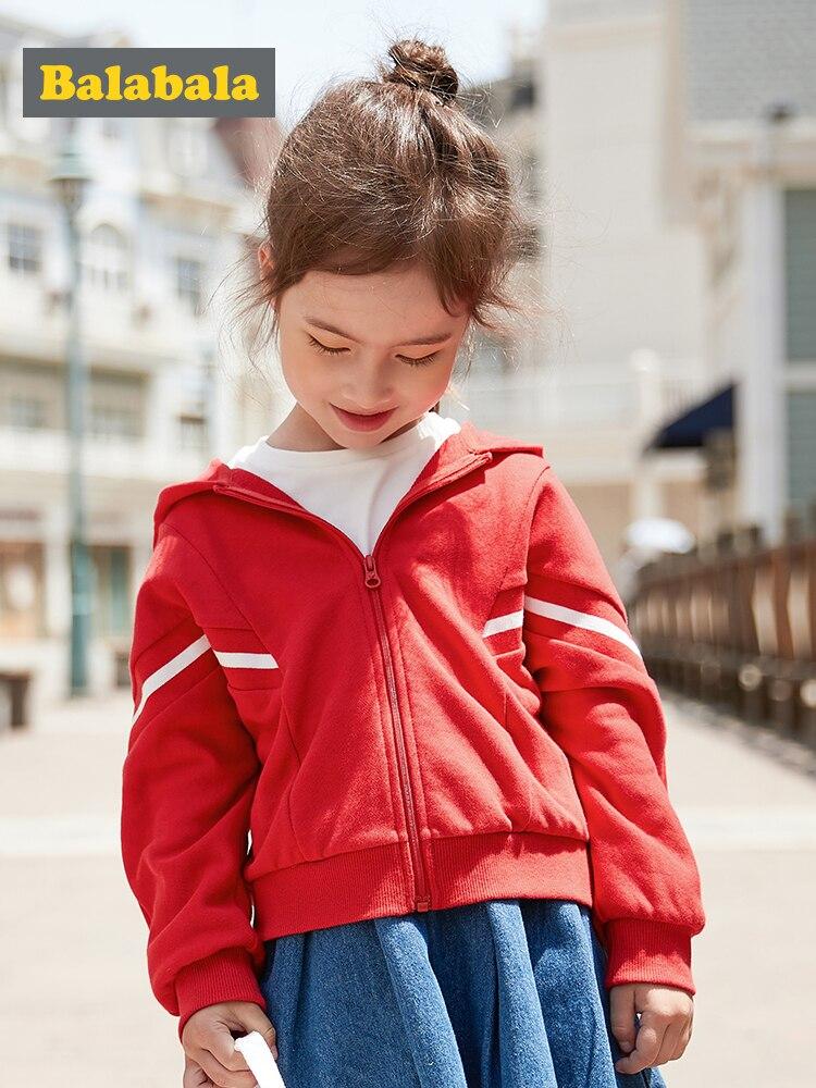 Balabala girls jacket Children clothing baby spring 2020 new Korean girl Korean version cotton hooded fashion coat(China)