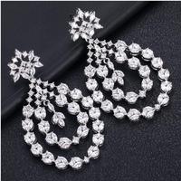 Accking luxury geometry Earrings For Women Accessories Full Cubic Zirconia Earrings Jewelry pendientes mujer moda