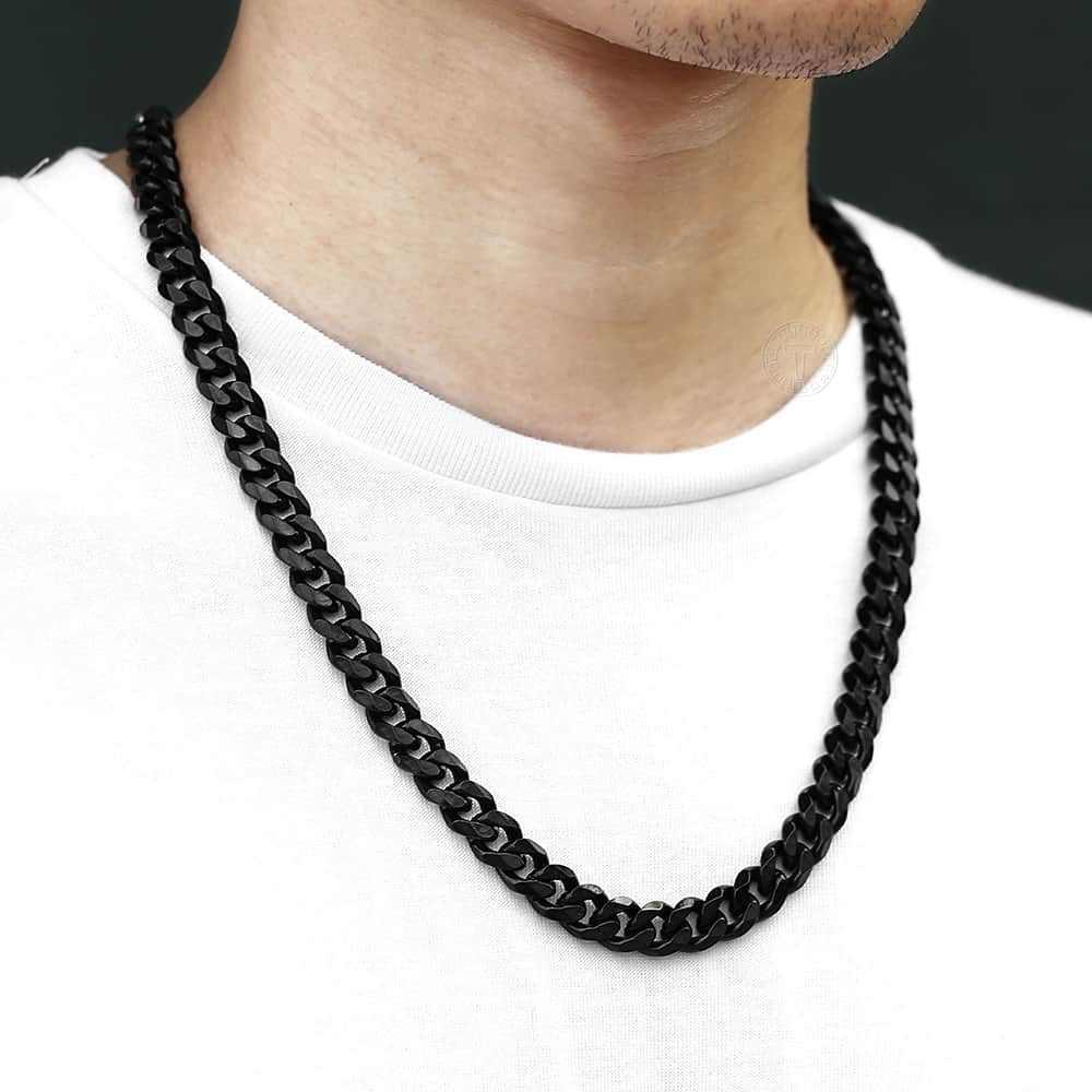 3 5 7 9 11mm mężczyzn złoty srebrny czarny Tone naszyjnik łańcuch ze stali nierdzewnej Curb kubański Link łańcucha mężczyzn moda biżuteria prezenty LKNM07A